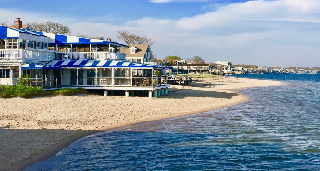 Beach front waterfront dining on Cape Cod Bay Provincetown
